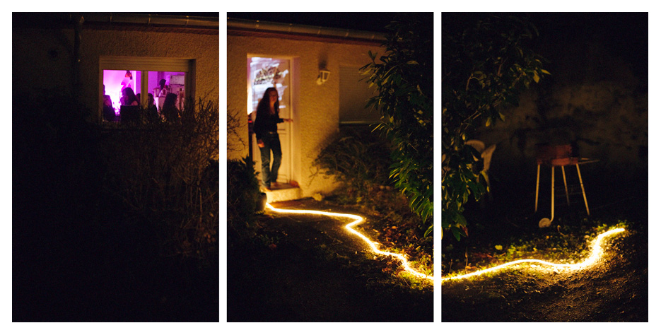 Garden party at night triptych, photo by Tom Spianti