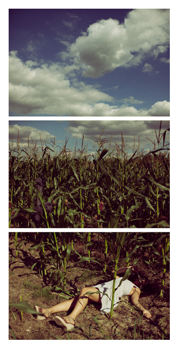 Adelina - lay down in a field triptych by Tom Spianti