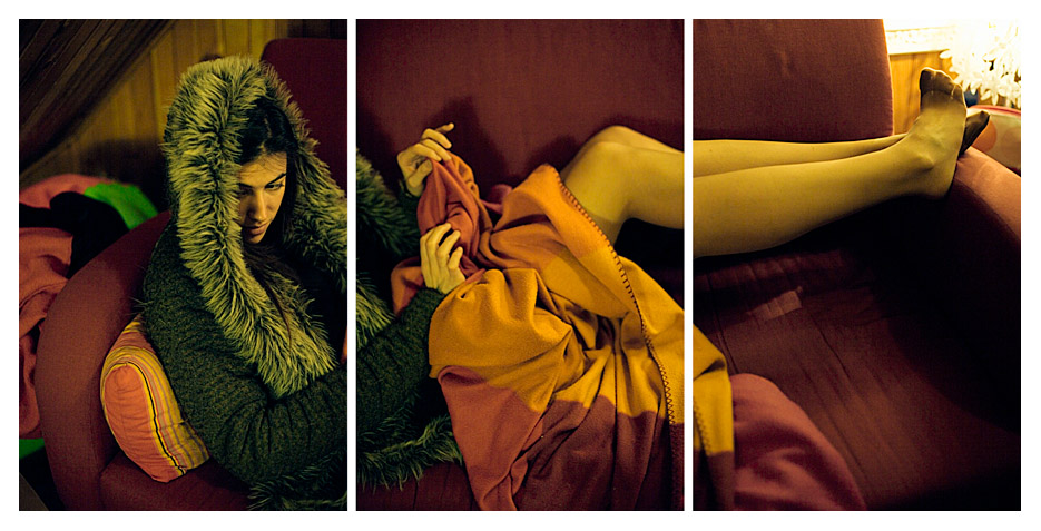 Jenny - on the Couch Triptych by Tom Spianti