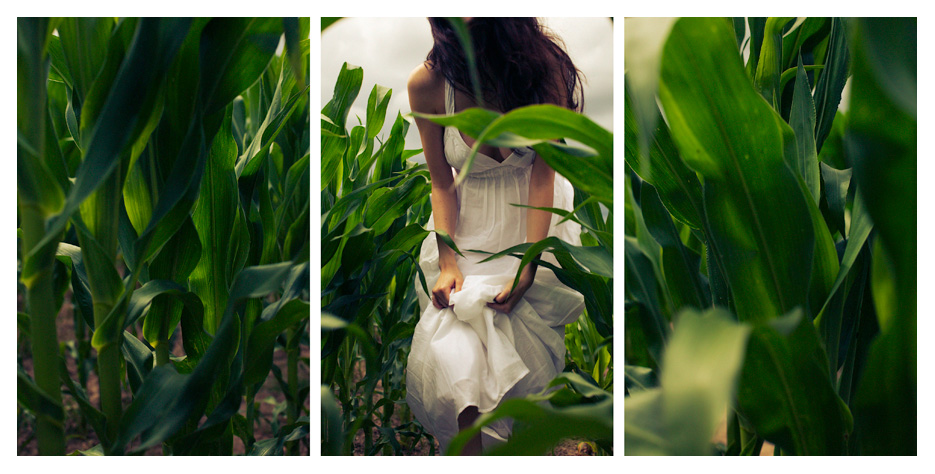 Kristina - Green field Triptych by Tom Spianti