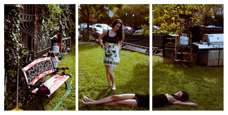 Safara & Margarita - Lie on Grass Triptych by Tom Spianti